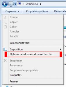Afficher les options de l'explorateur Windows