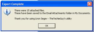 Script d'exportation de toutes les pièces jointes - Message de confirmation